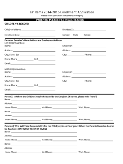 Lil' Rams 2014-2015 Enrollment Application CHILDREN'S RECORD