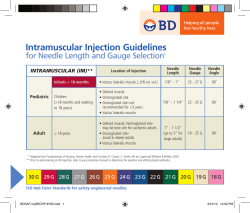 Intramuscular Injection Guidelines  for Needle Length and Gauge Selection INTRAMUSCULAR (IM)**