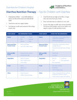 Diarrhea Nutrition Therapy —Tips for Children with Diarrhea Doernbecher Children's Hospital