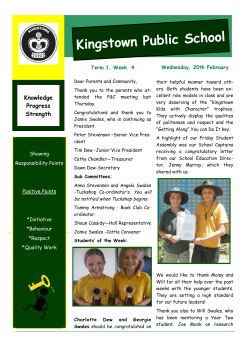 Kingstown Public School Wednesday, 20th February Term 1, Week  4