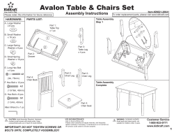 Avalon Table & Chairs Set Assembly Instructions