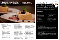 Arroz con leche y genovesa IngredIentes