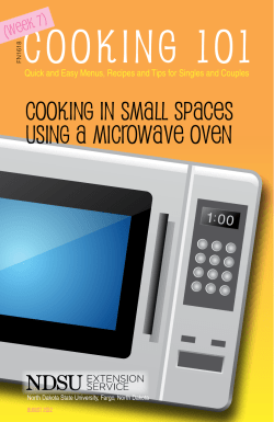 Cooking 101 Cooking in Small Spaces Using a Microwave Oven (Week 7)