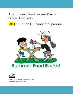 The Summer Food Service Program 2014 Nutrition Guidance for Sponsors