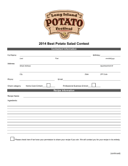 2014 Best Potato Salad Contest Contestant Information