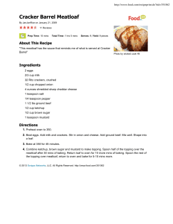 Cracker Barrel Meatloaf About This Recipe Ingredients