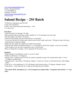Salami Recipe – 25# Batch
