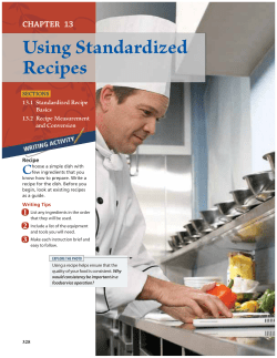 Using Standardized Recipes C CHAPTER 13