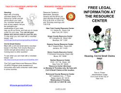FREE LEGAL INFORMATION AT THE RESOURCE
