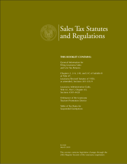 Sales Tax Statutes and Regulations THIS BOOKLET CONTAINS: