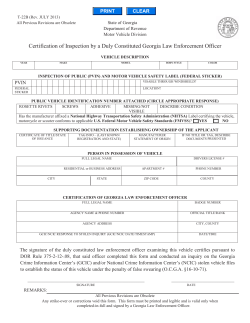 Certification of Inspection by a Duly Constituted Georgia Law Enforcement... PVIN PRINT CLEAR