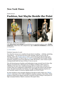 Fashion, but Maybe Beside the Point New York Times