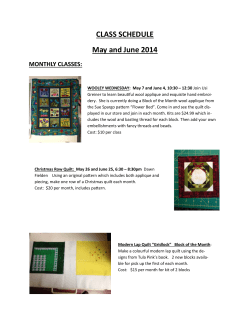 CLASS SCHEDULE May and June 2014 MONTHLY CLASSES: