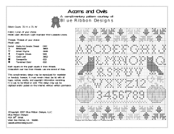 Acorns and Owls A complimentary pattern courtesy of: Blue Ribbon Designs