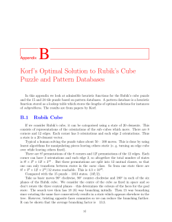 B Korf's Optimal Solution to Rubik's Cube Puzzle and Pattern Databases Appendix
