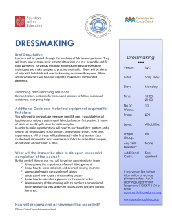 DRESSMAKING Dressmaking Brief Description