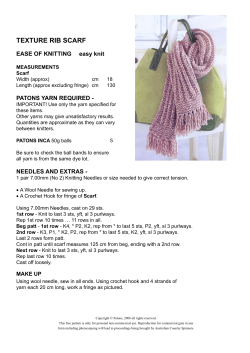 TEXTURE RIB SCARF EASE OF KNITTING easy knit PATONS YARN REQUIRED -