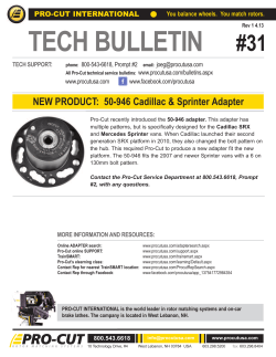 TECH BULLETIN #31 PRO-CUT INTERNATIONAL