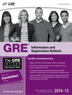 GRE Information and Registration Bulletin