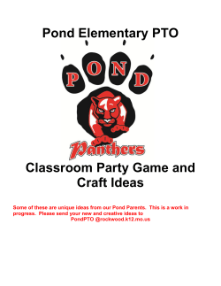 Pond Elementary PTO  Classroom Party Game and Craft Ideas