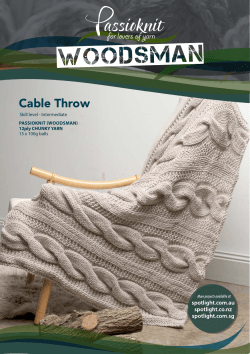Cable Throw PASSIOKNIT (WOOdSmAN) 12ply CHUNKY YARN Skill level - Intermediate