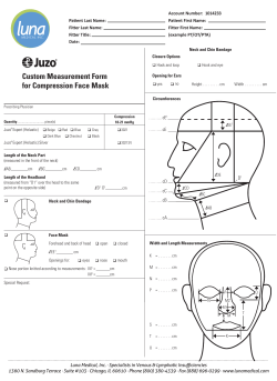 Custom Measurement Form for Compression Face Mask cE Account Number:  1014233
