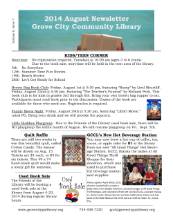 2014 August Newsletter Grove City Community Library KIDS/TEEN CORNER