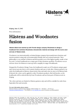 Hästens and Woodnotes fusion  Press information