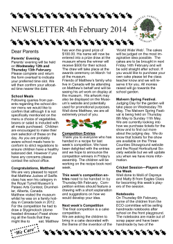 NEWSLETTER 4th February 2014  Dear Parents