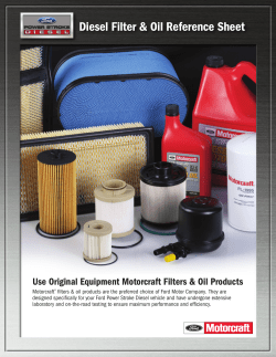 Diesel Filter & Oil Reference Sheet