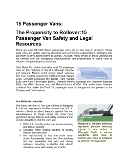 15 Passenger Vans: The Propensity to Rollover:15 Passenger Van Safety and Legal Resources