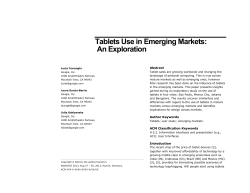 Tablets Use in Emerging Markets: An Exploration Abstract