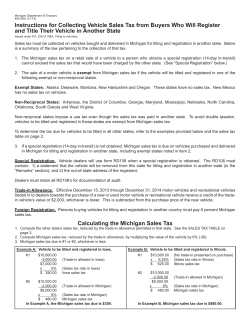Instructions for Collecting Vehicle Sales Tax from Buyers Who Will... and Title Their Vehicle in Another State