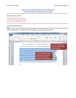 How to Format Block Quotations in the American  PC Word 2010/2007