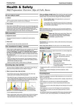 Health & Safety Shift Preparation, Overview, Slips & Falls, Burns Training Flyer