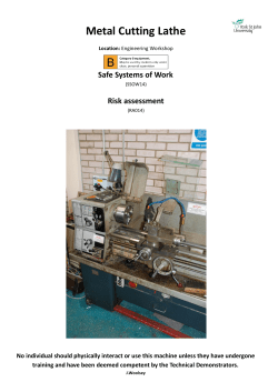 Metal Cutting Lathe Safe Systems of Work Risk assessment