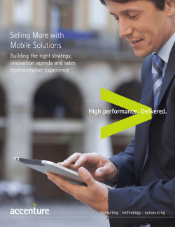 Selling More with Mobile Solutions Building the right strategy, innovation agenda and sales