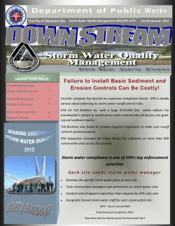 D e p a r t m e n t ... Failure to Install Basic Sediment and Erosion Controls Can Be Costly!