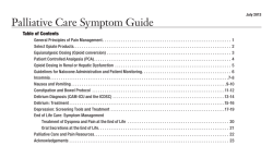 Palliative Care Symptom Guide  Table of Contents
