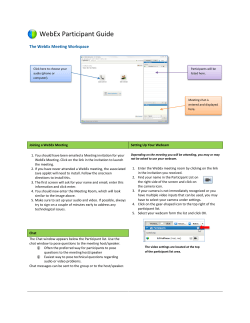 WebEx Participant Guide  The WebEx Meeting Workspace