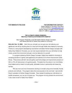 FOR IMMEDIATE RELEASE        ... THE ULTIMATE GREEN REMODEL: Dallas Habitat for Humanity: