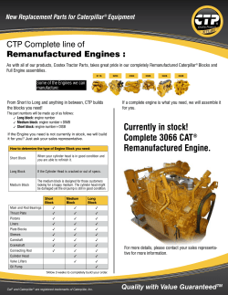 CTP Complete line of Remanufactured Engines : New Replacement Parts for Caterpillar Equipment