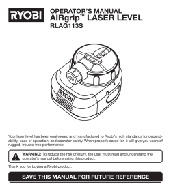 AIRgrip LASER LEVEL OPERATOR'S MANUAL