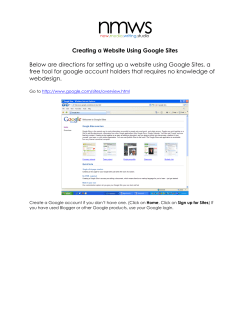 Creating a Website Using Google Sites