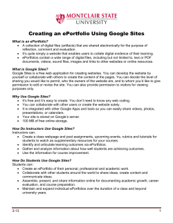 Creating an ePortfolio Using Google Sites
