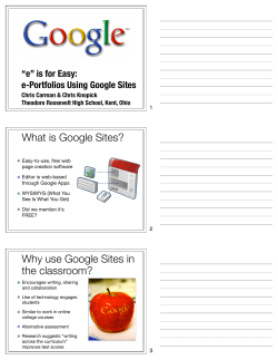 "What is Google Sites? ""e"" is for Easy: e-Portfolios Using Google Sites"