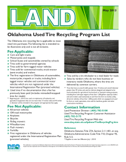 Oklahoma Used Tire Recycling Program List May 2013