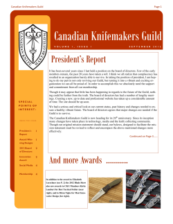 Canadian Knifemakers Guild President's Report