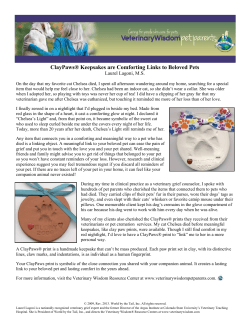 ClayPaws® Keepsakes are Comforting Links to Beloved Pets Laurel Lagoni, M.S.