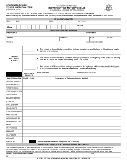 DEPARTMENT OF MOTOR VEHICLES CT LICENSED DEALER VEHICLE INSPECTION FORM STATE OF CONNECTICUT